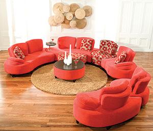 decorium red modern sofa