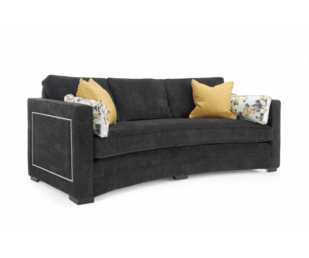 Lauren fabric curved sofa decorium furniture for Black fabric couches