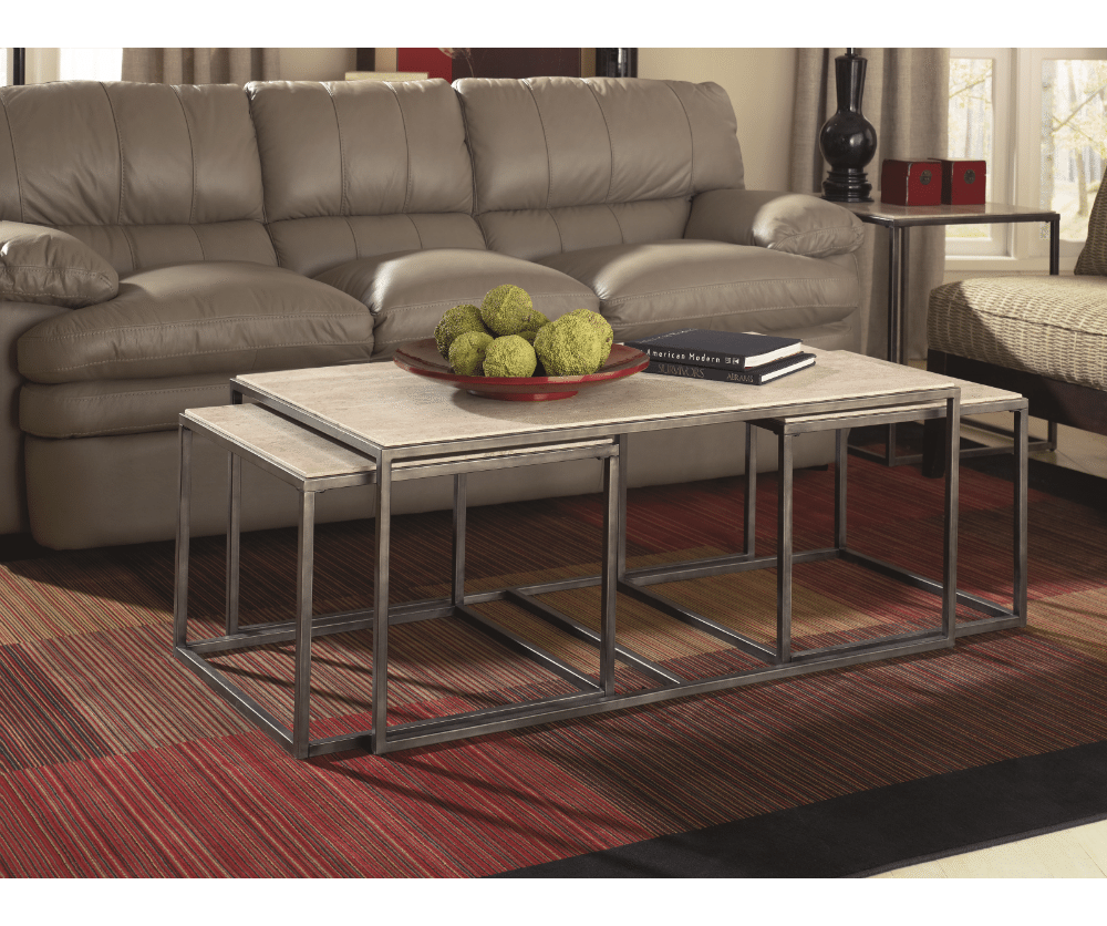Quasar Set Of Three Rect Nesting Tables Decorium Furniture