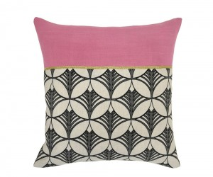 Geometric Pink Fish Bone Accent Pillow