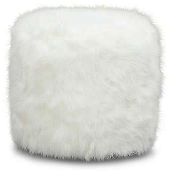 Harriet Faux White Fur Pouf Ottoman