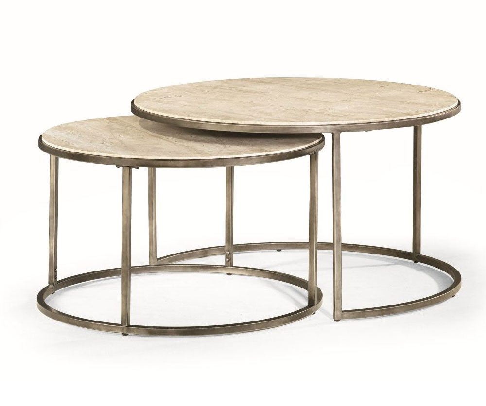 Quasar set of two rnd cocktail nesting tables decorium for Set de table matelasse