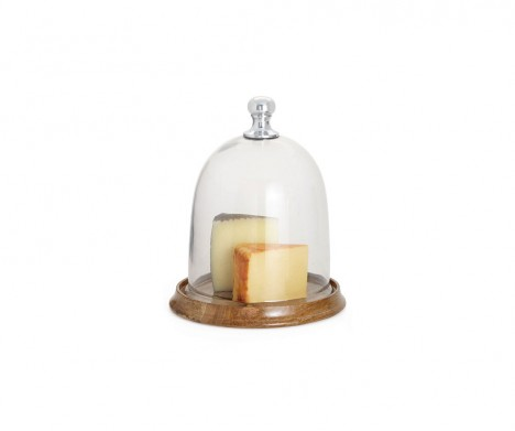 Sienna Round Glass Dome On Wooden Base - Large