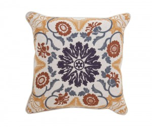 Textured Hue Japanese Floral Accent Pillow