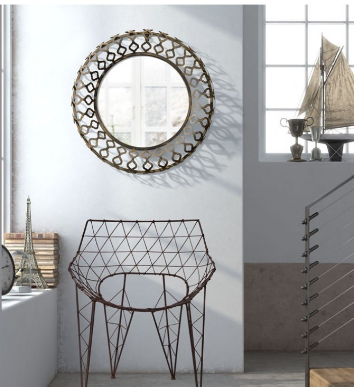 wire chair and mirror