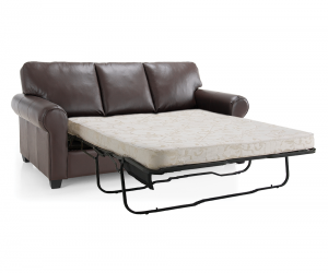 Maggie 3s Leather Sofa bed Open Silo