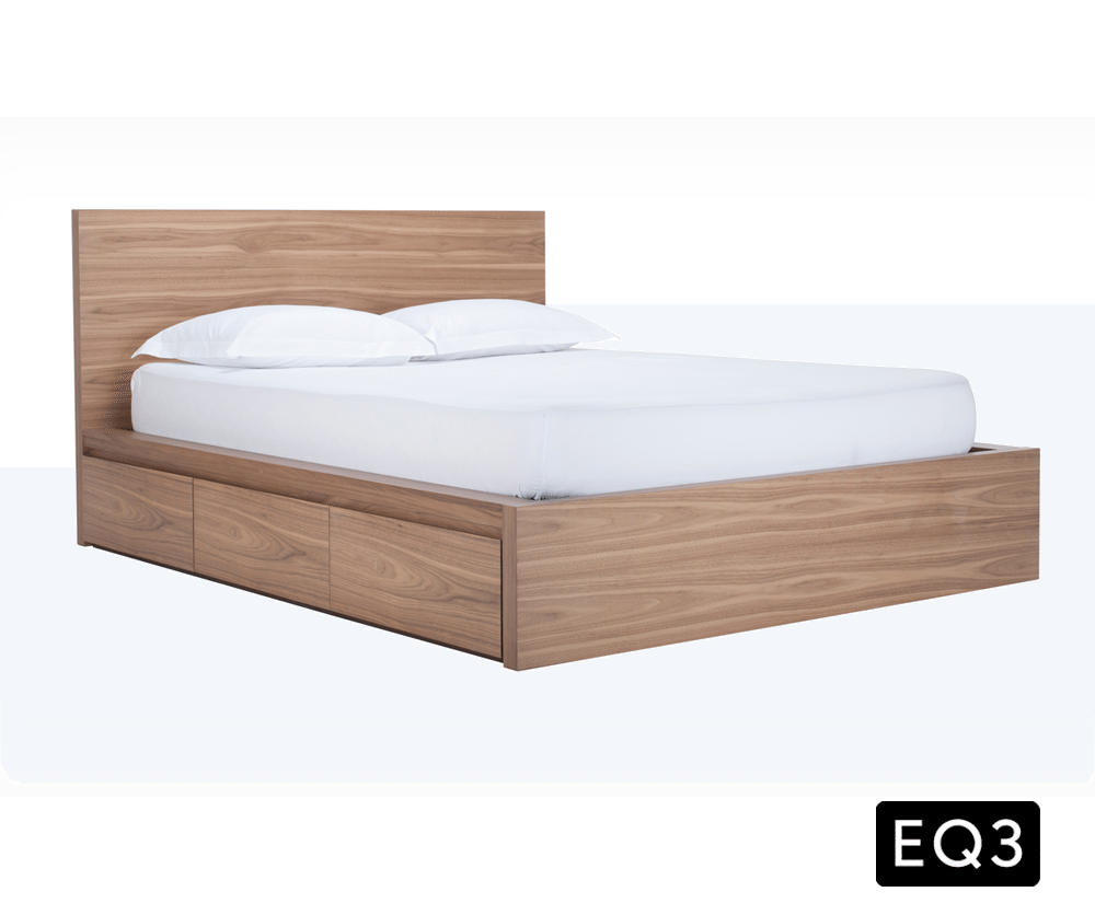 simple queen bed with one side storage  decorium furniture - space saver